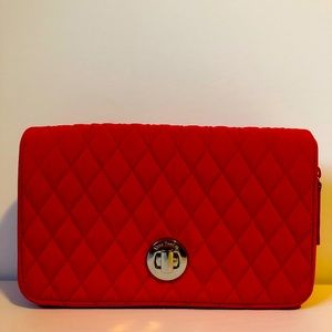 Vera Bradley turnlock quilted purse nylon red EUC